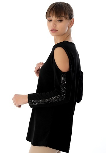 Emjey Omzu Açık Pul Şetili Bluz Siyah